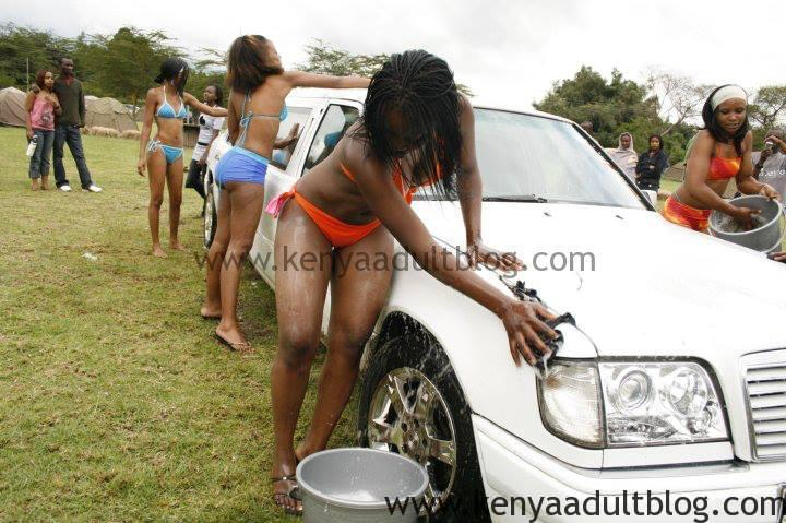 Kenyan lady washing car naked