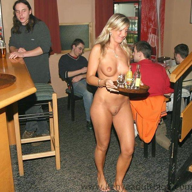 Naked bar waiter serving beers
